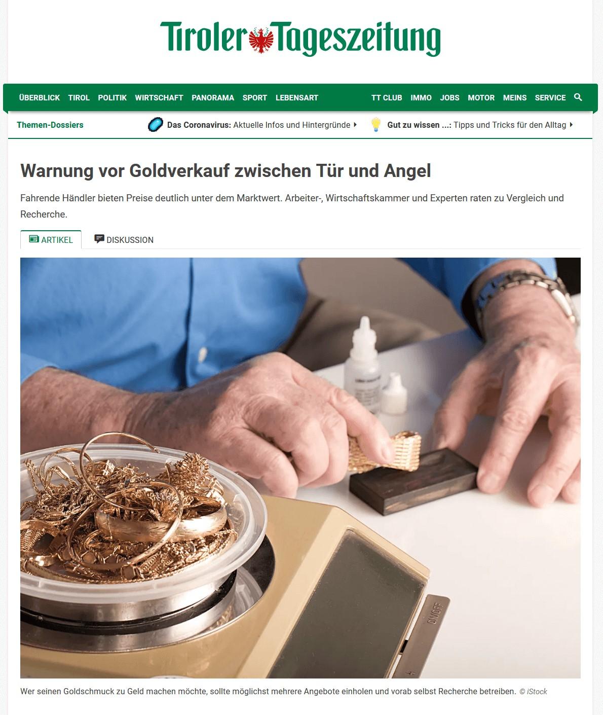 Warnung vor Goldverkauf zwischen Tür und Angel Tiroler Tageszeitung